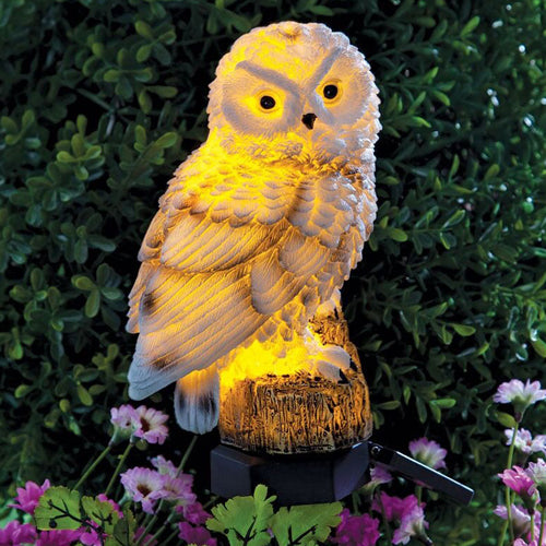 LED White Owl Shaped Outdoor Light