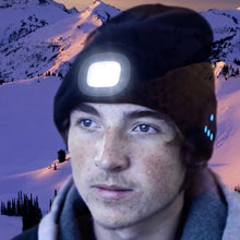 Load image into Gallery viewer, Tech Beanie With Built In Headlamp & Bluetooth Head Phones