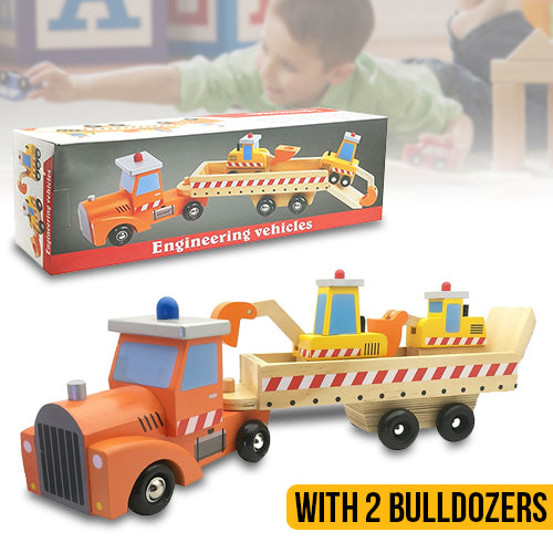 Wooden Construction Trailer Toy Set