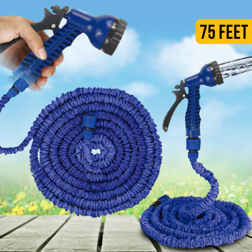 Expandable Garden Hose & Spray Nozzle - 22.5 m (75 Feet)