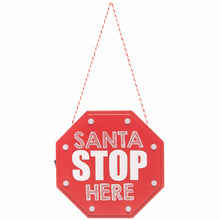 Load image into Gallery viewer, LED SANTA STOP HERE SIGN 15x15cm
