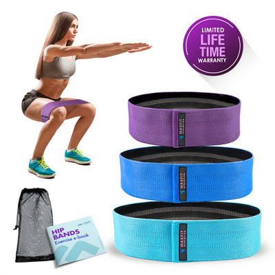 Booty Bands, Set of Three Hip Resistance Bands With Bag