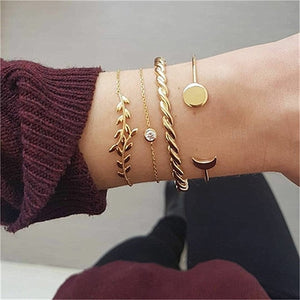 KISS WIFE 5Pcs/Set Fashion Punk Gold Chain Moon Leaf Crystal Geometry Open Bracelet Set Women Charm Beach Jewelry Drop Shipping