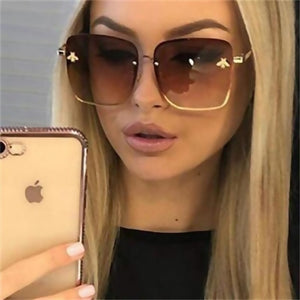 TOYEARN 2019 New Fashion Lady Oversize Rimless Square Sunglasses Women Small Bee Glasses Gradient Sun Glasses For Female  UV400