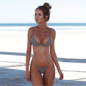 2019 Women Swimsuit Push up Bikini Swimwear Solid Swimming Suit Separate Female Swimsuit Bathing Suit Bikinis Biquinis Feminino