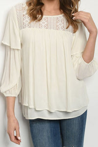 Sweet Lacey Linen Top In Stock POP! Stock!