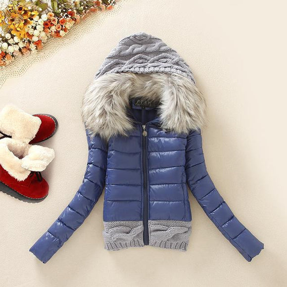Ice Ice Baby Knit Puffer Jacket (Navy)