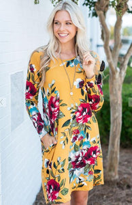 Fall Flowers Pocket Dress