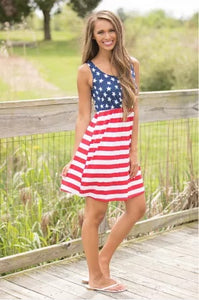 American Flag Short Maxi Dress