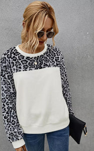Leopard Fleece Color Block Top