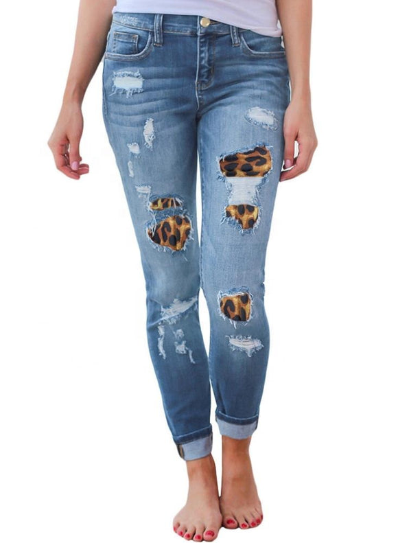 Leopard Print Stretchy Jeans (2 colors)