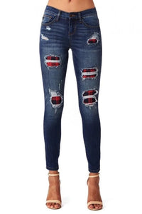 Buffalo Plaid Stretchy Jeans