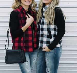 Mommy & Me Fall Plaid Quilted Vests