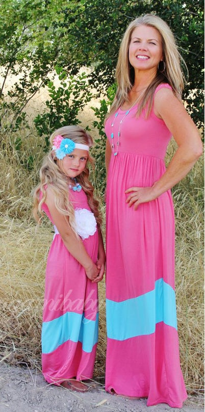 Mommy & Me Bubblegum Maxi Dress