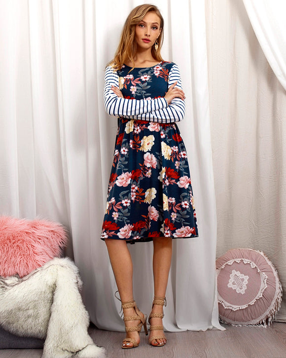 Blooms N Stripes Fall Dress