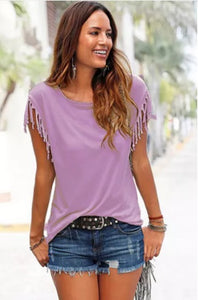 Tassel Tee Shirt Top (4 colors, up to size 5XL!)