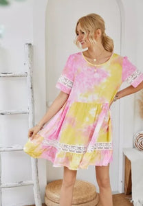 POP! Stock - Lace and Dye Summer Swing Dress