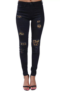 Black Leopard Denim Jean