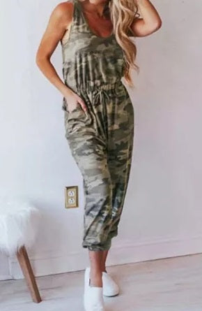 Camo Drawcord Waist Jumpsuit