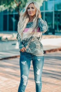 Camo Sequins Color Block Top