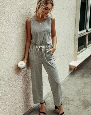 POP! Stock - Basic Sleeveless Capri Jumpsuit