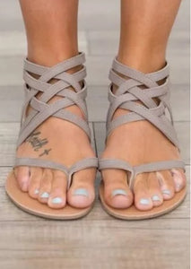 Strappy Flat Zipper Sandal - Two Colors