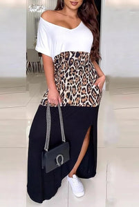 Leopard Colorblock Slit Dress