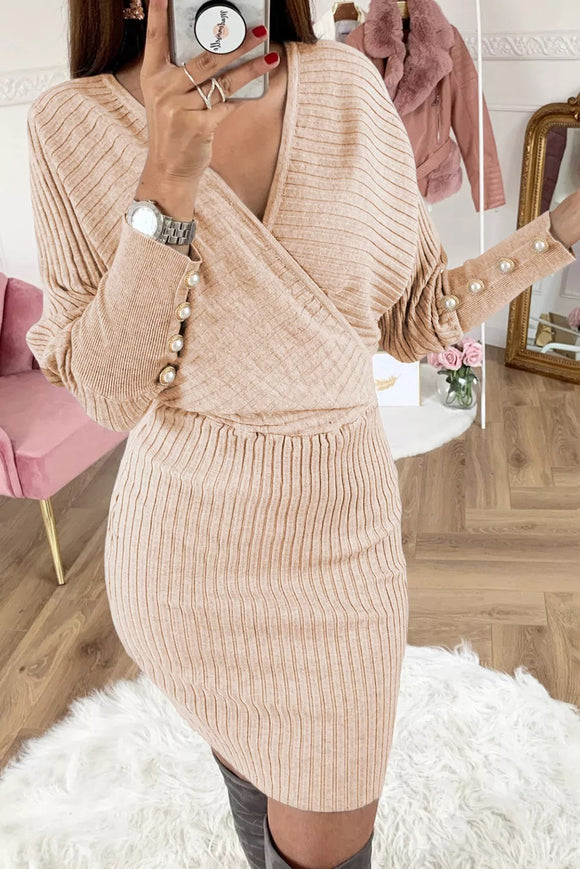 Button Sleeve Sweater Dress (3 Colors)