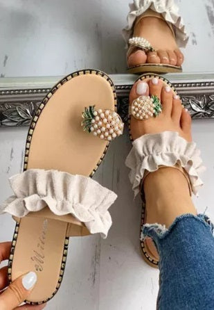 POP! Stock-Pineapple Toe Flats TWO STYLES!