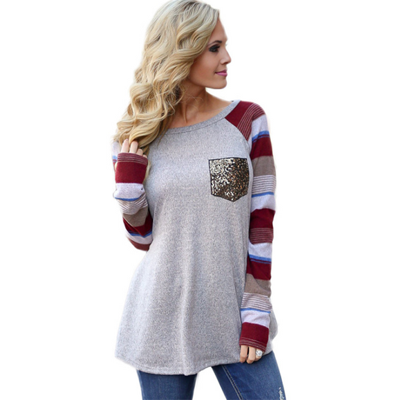 Sequin Pocket Stripes Tee
