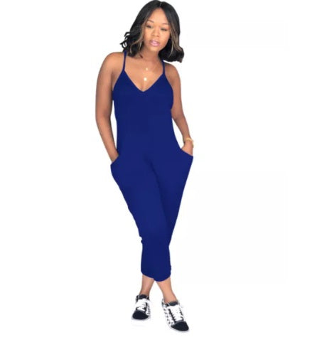 Pocketed Racer Back Jumpsuit (3 colors, up to size 3XL!)