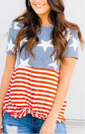 POP! Stock - Americana Knotted Tee (Two Styles) Plus sizes available!