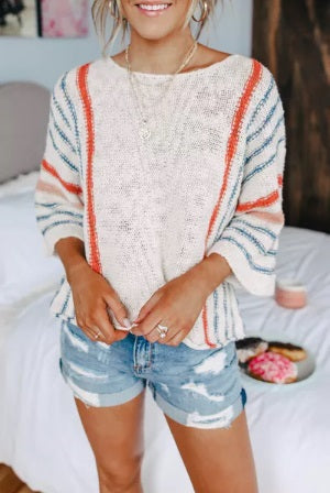 Wide Sleeve Striped Beach Sweater (Up to 2XL!)