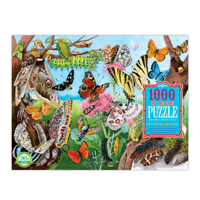 eeBoo Butterflies and Moths 1000 Piece Rectangle Puzzle