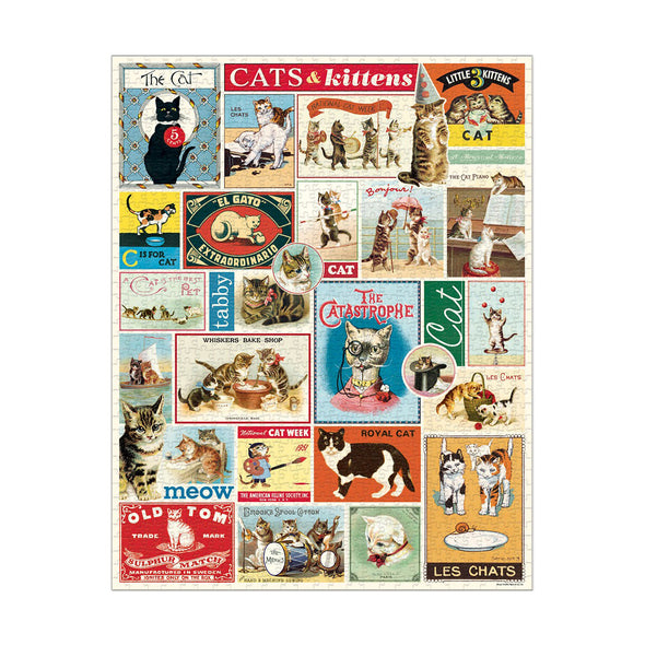 Cavallini & Co Vintage Cats 1000 Piece Jigsaw Puzzle