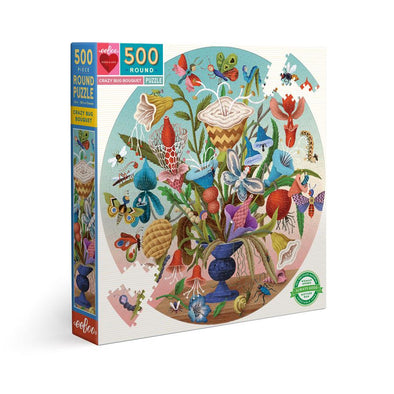 eeBoo 'Crazy Bug Bouquet' 500 Piece Round Puzzle