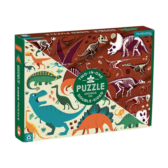 Mudpuppy Dinosaur Dig 100 Piece Double Sided Puzzle