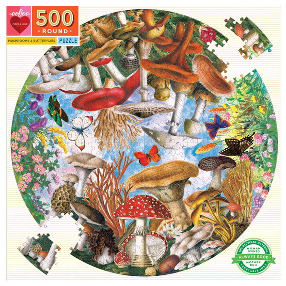 eeBoo Mushrooms & Butterflies 500 Piece Round Puzzle
