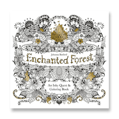 Enchanted Forest An Inky Quest & Coloring Book, Gold Foil Edition