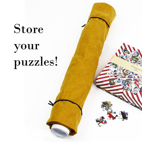 It's a Wrap Puzzle Storage Roll and Mat in Mustard Felt