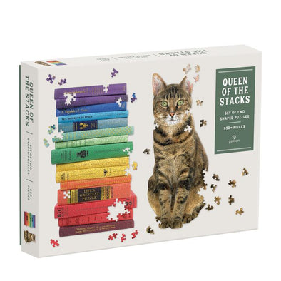 Galison Queen of the Stacks 2-in-1 Puzzle Set 650 Pieces BACK IN STOCK!