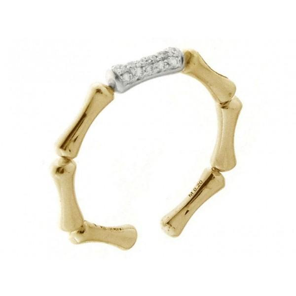 RING BAMBOO REGULAR WHITE AND YELLOW GOLD WITH DIAMONDS - M&R Jewelers