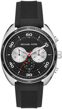 Load image into Gallery viewer, MICHAEL KORS MEN'S DANE STAINLESS STEEL QUARTZ SILICONE STRAP, BLACK, 22 CASUAL WATCH MK8611
