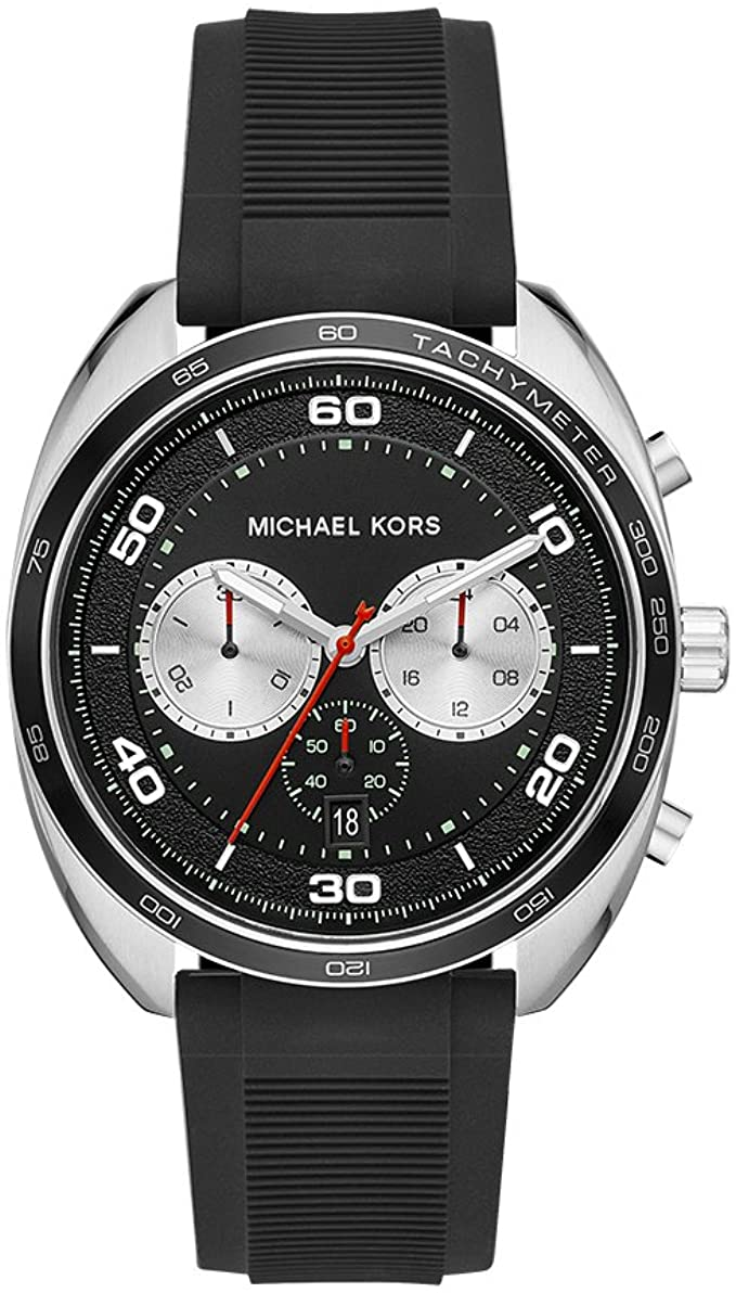 MICHAEL KORS MEN'S DANE STAINLESS STEEL QUARTZ SILICONE STRAP, BLACK, 22 CASUAL WATCH MK8611
