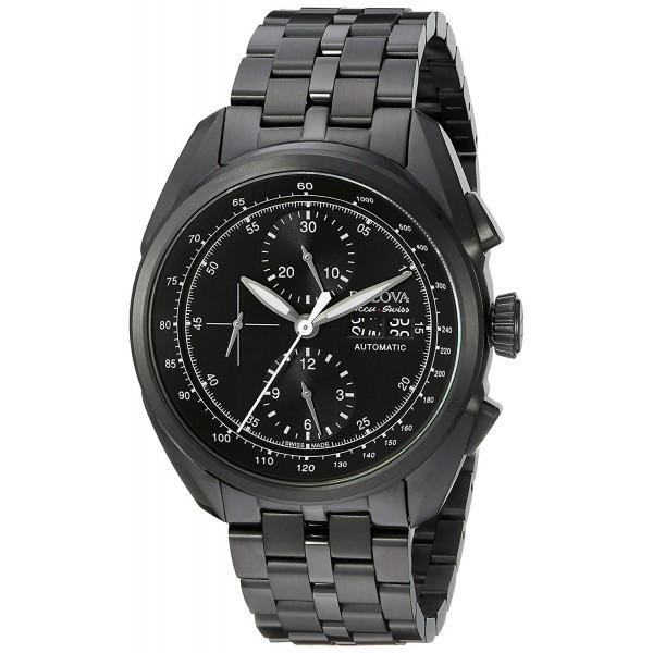 BULOVA ACCU SWISS MEN'S 65C116 ANALOG DISPLAY MECHANICAL HAND WIND BLACK WATCH