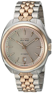BULOVA ACCU SWISS MEN'S 65B159 ROSE GOLD AND SILVER DRESS WATCH - M&R Jewelers