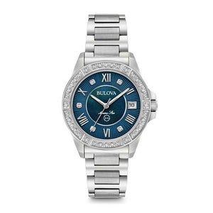 BULOVA WOMEN'S 32MM BLUE MARINE STAR STAINLESS STEEL AND DIAMOND BRACELET WATCH - M&R Jewelers