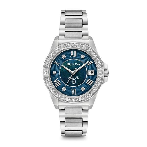 BULOVA WOMEN'S 32MM BLUE MARINE STAR STAINLESS STEEL AND DIAMOND BRACELET WATCH