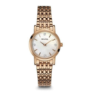 BULOVA 97P106 LADIES DIAMOND GALLERY ROSE STEEL BRACELET WATCH - M&R Jewelers