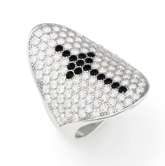 Cross Ring with white and black cubic zirconia - M&R Jewelers